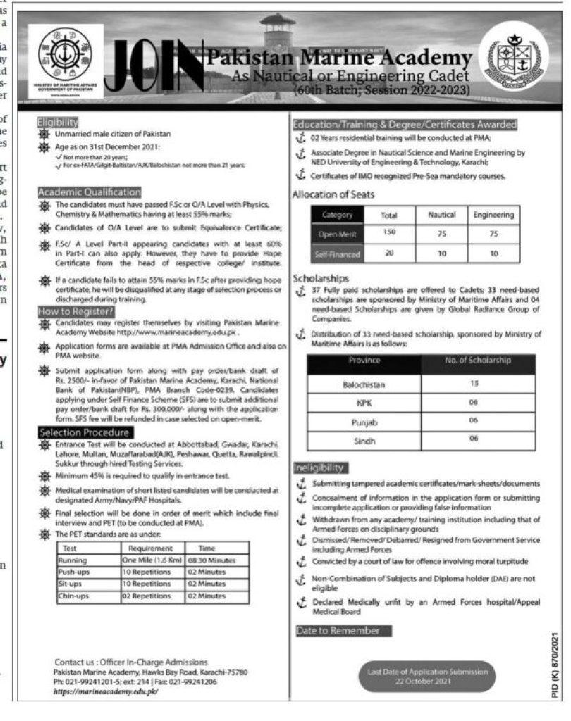 Pak Navy Jobs Advertisement