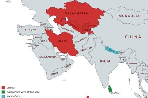 Güney Asya & Orta Asya Vizesiz Ülkeler