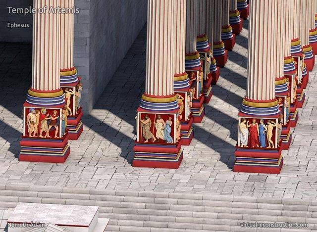 efes artemiz tapınağı sütun çizimleri
