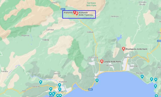 Arykanda Antik Kenti google maps konumu