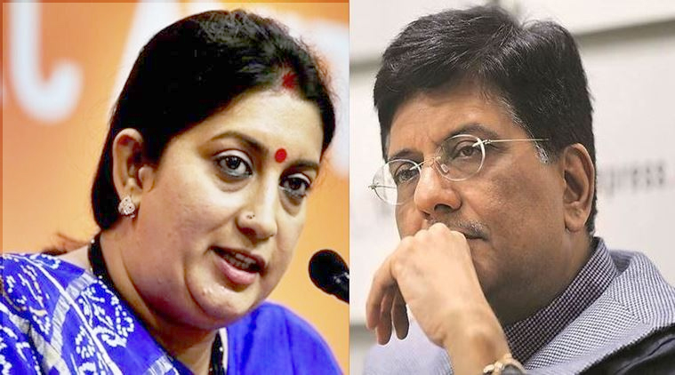 Smriti Irani removed from I&B Ministry, Piyush Goyal to handle Finance