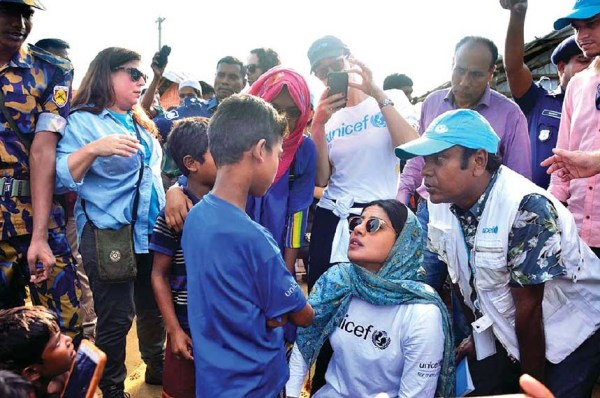 Priyanka Chopra visits Rohingya refugee camps in Bangladesh, appeals fans to support their children