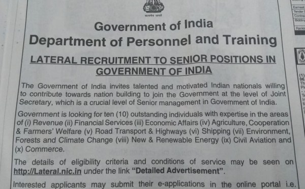 Over 6,000 apply for 10 Jt Secy posts in govt's lateral entry move