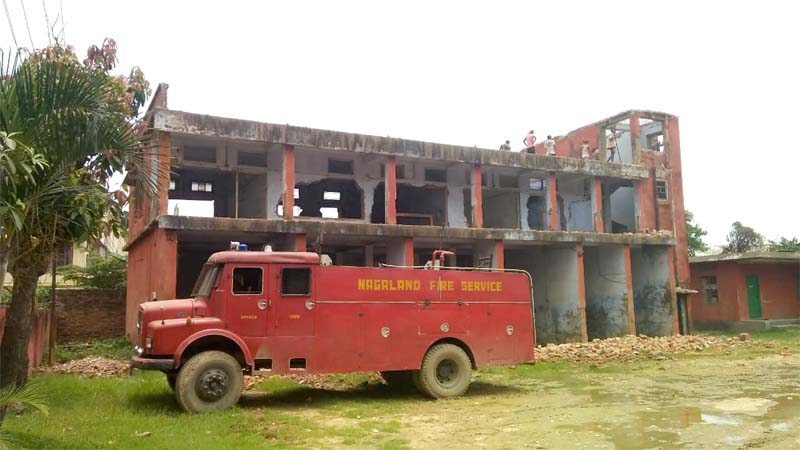 Dilapidated Fire Station building in  Dimapur being demolished