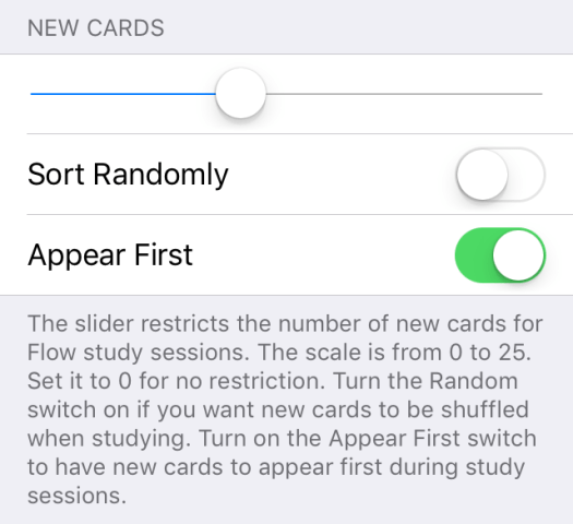 new cards setting