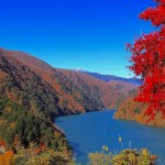 Nagawato dam in autumn in Nagano