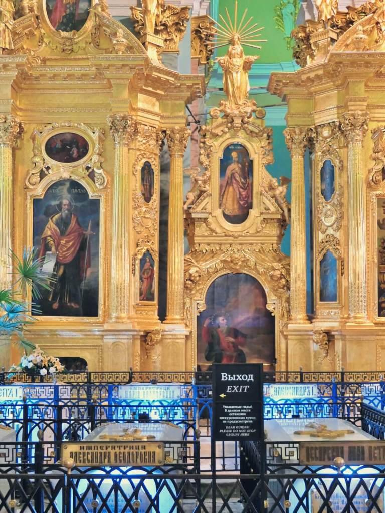Groby carskie w cerkwi Piotra i Pawła w Petersburgu.