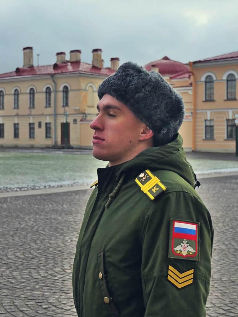 Żołnierz armii rosyjskiej w Petersburgu.