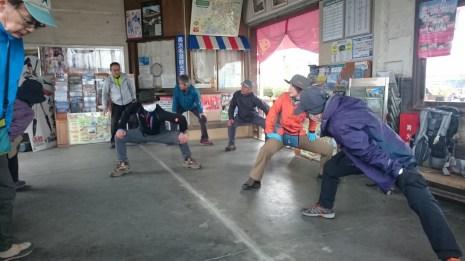 気賀駅で準備体操