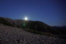 薬師岳東南陵から上がった中秋の名月