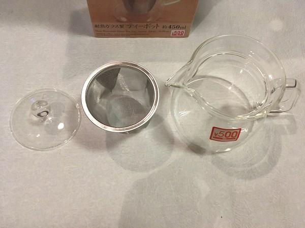 「耐熱ガラス製 ティーポット 約450ml」に入っているもの