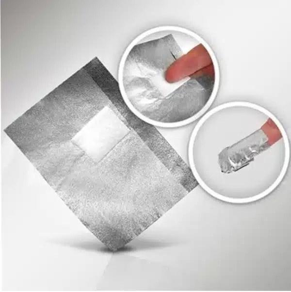 Aliuminio folija geliniui lakui nuimti 100 vnt.Gelinio lako nuėmimo formelės  10vnt.