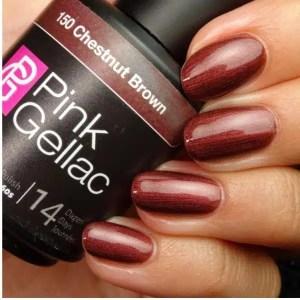 Profesionalus ilgalaikis gelinis lakas Pink Gellac Chestnut Brown 15 ml