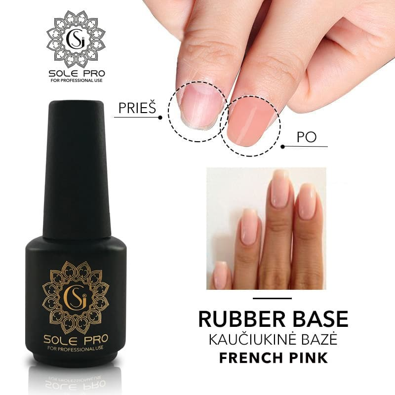 KAUCIUKINE BAZE SOLE GEL PRO rubber base FRENCH PINK 15 ml