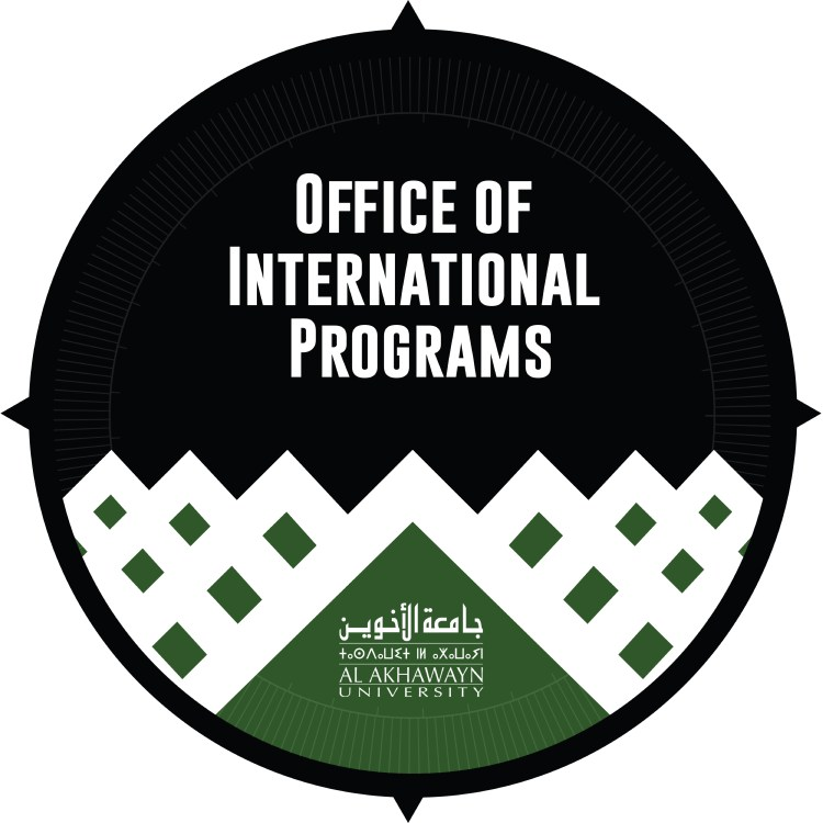 Compass with a the silhouette of Alpine chalets in the foreground. The text reads: Office of International Programs, Al Akhawayn University. The university name is included in Arabic and Amazigh alphabets as well.