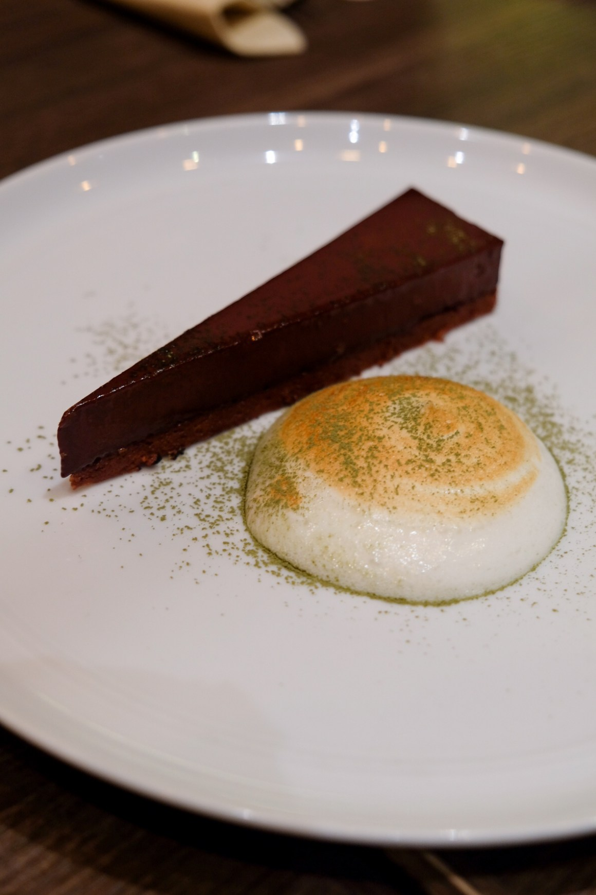 Delicious Italian Food At Amo Restaurant - Chocolate Tart with Green Tea and Yuzu Meringue ($12)