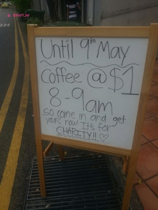 Advertisement Board Outside the Cafe