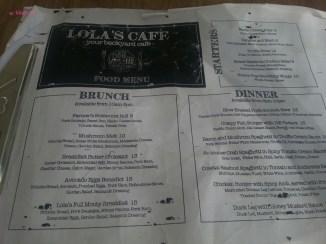 Lola's Cafe Food Menu