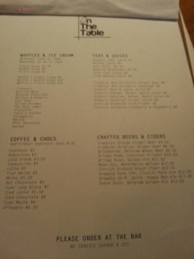 Drinks and Dessert Menu