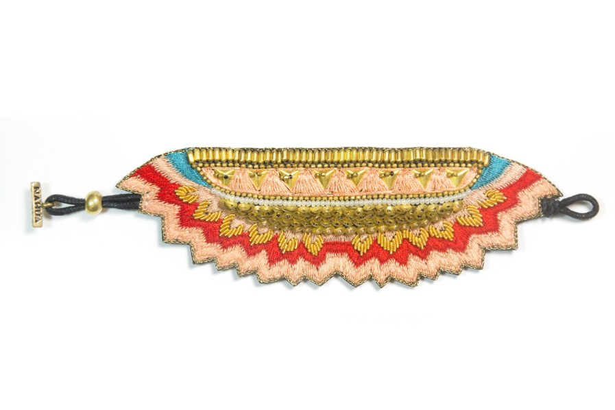 Maheswari bracelet - Mandarin/Green | Photo 3