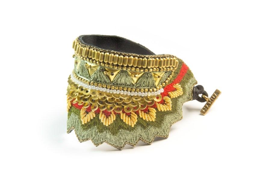 Bracelet ethinque Maheswari | Mousse/Corail | Photo 2