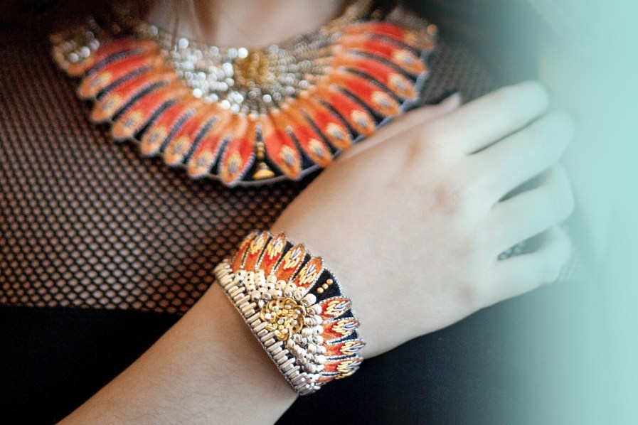 Bracelet ethnique Nita   Orange   Photo 1