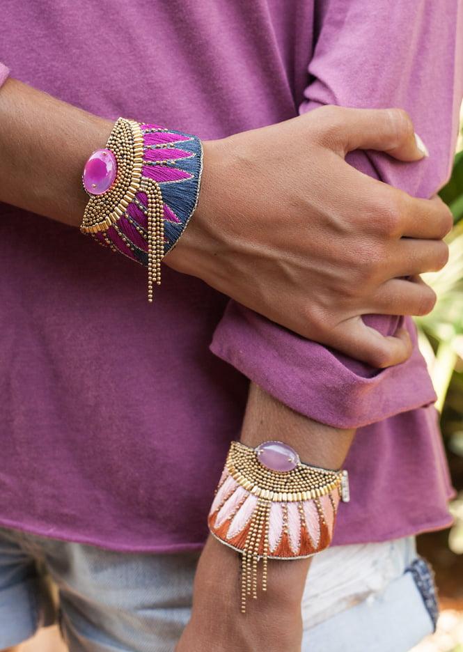 Bracelet ethnique Brahma | Nuts/Pink | Photo 5