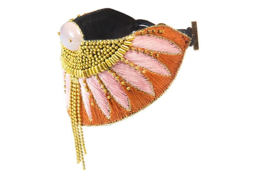 Bracelet ethnique Brahma | Nuts/Pink | Photo 2
