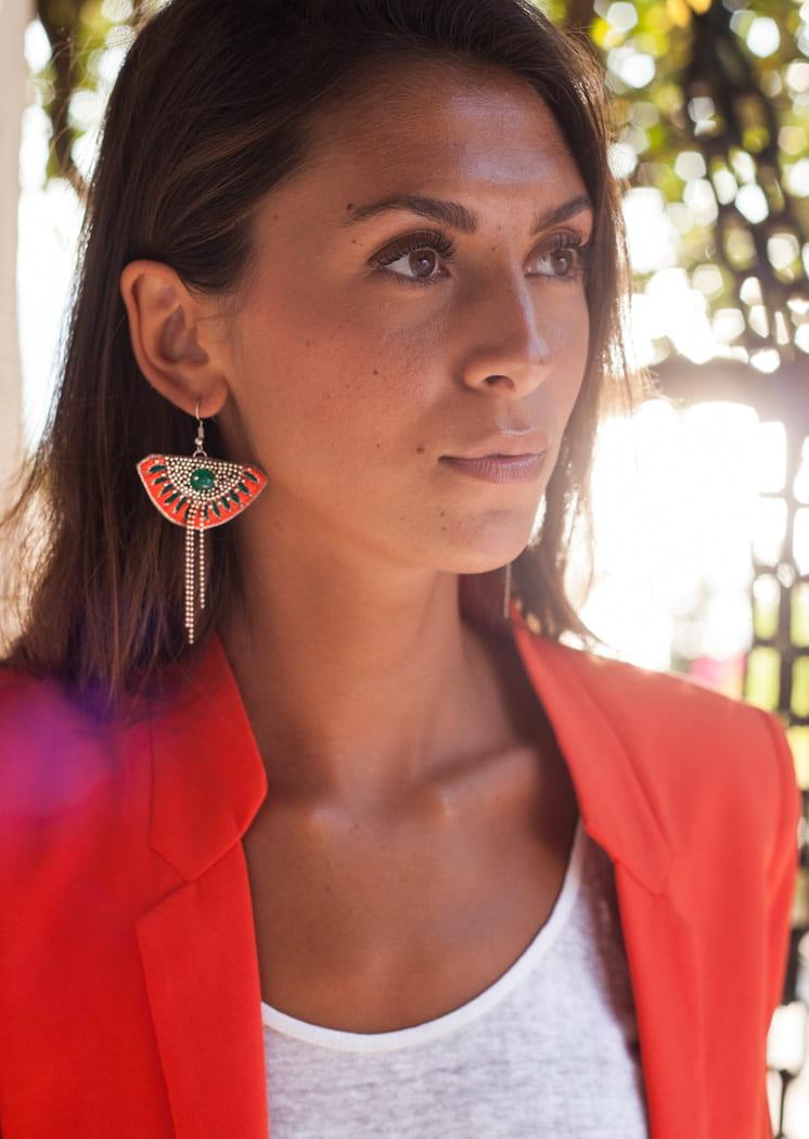 Boucles d'oreilles ethniques Brava | Palm/Honey | Photo 2