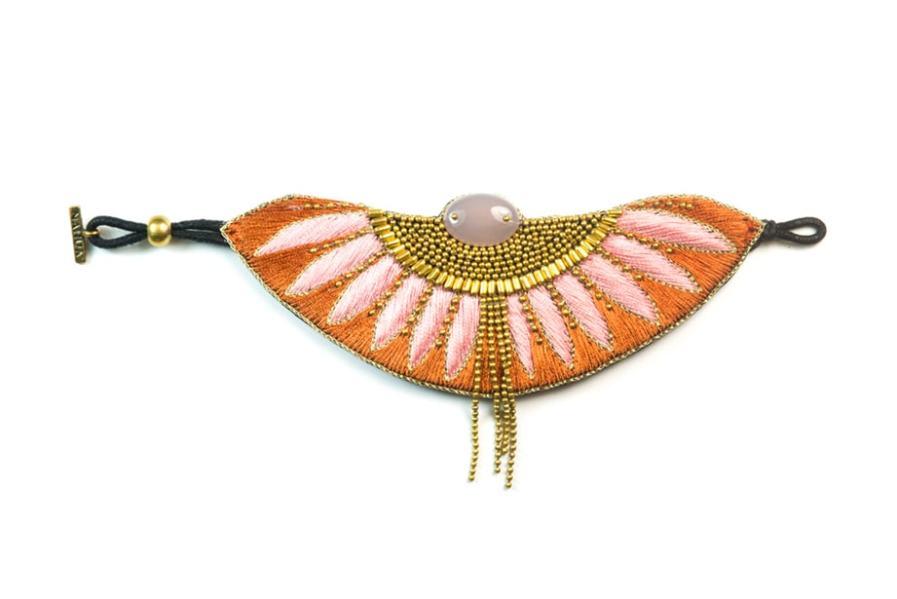 Bracelet ethnique Brahma | Nuts/Pink | Photo 3