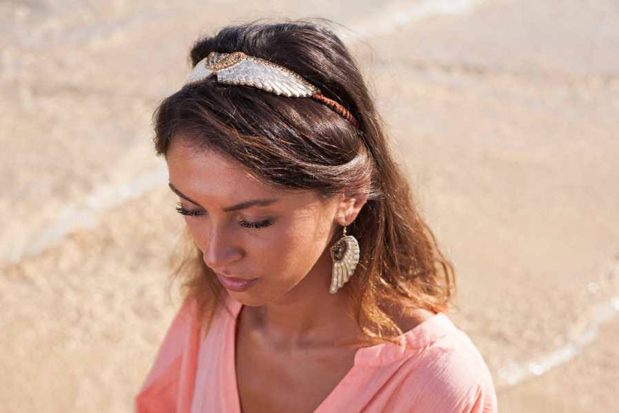 Headband brodé en cuir Anny | Black | Photo 2