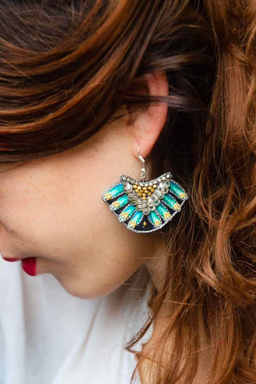 Nidhi ethnic earrings - Green | Photo 1