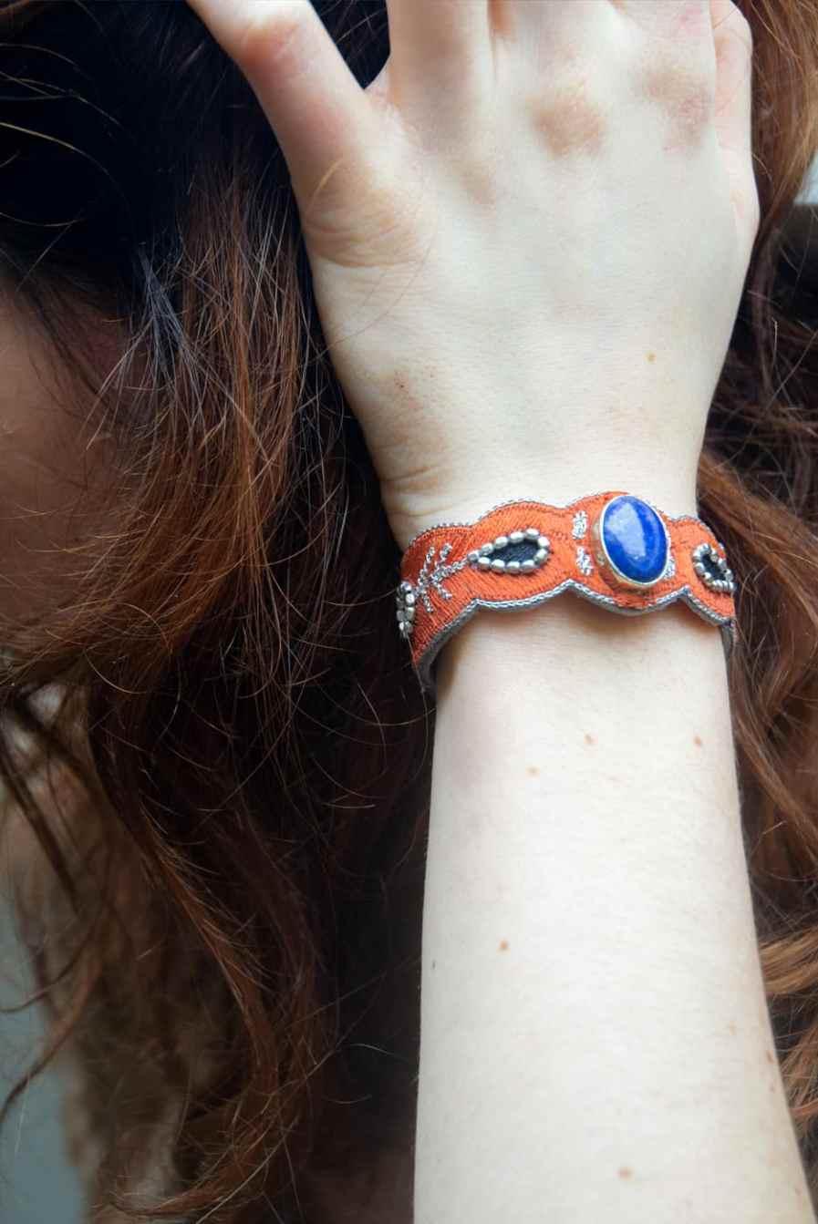 Opaline bracelet - semi precious stone - Blue/Copper | Photo 1