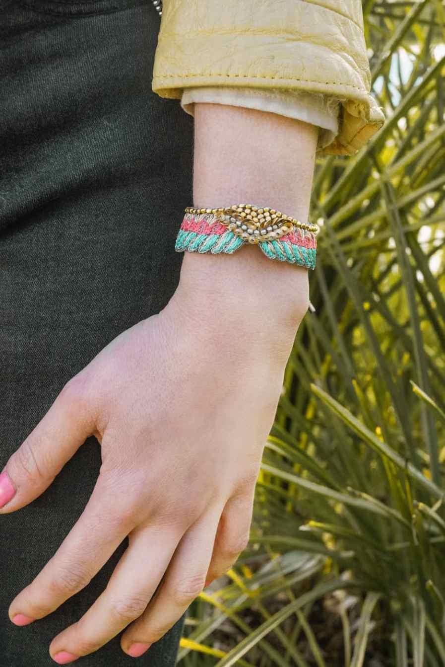 Bracelet bohème Shaila | Turquoise/Pink | Photo 1