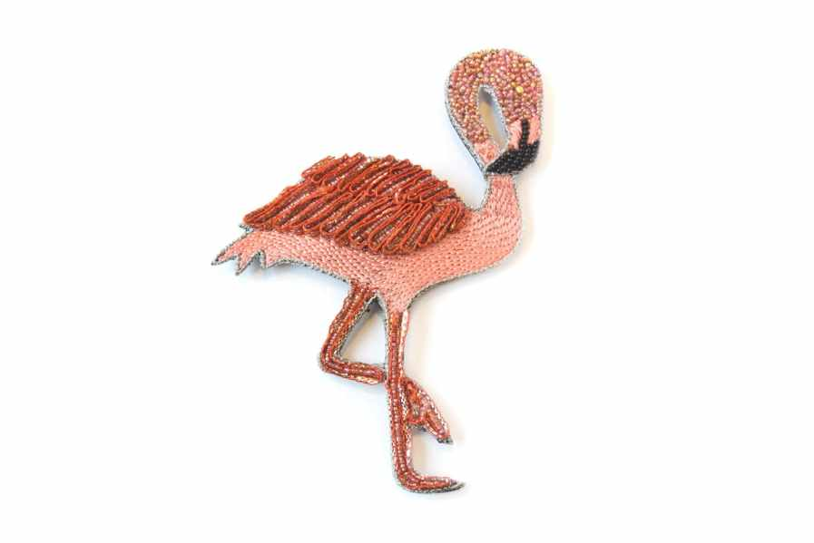 hand embroidered brooch - flamingo | Photo 2