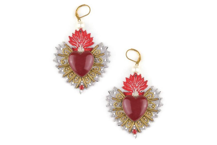 Boucles d'oreilles sacré coeur Rosa | Rouge | Photo 2