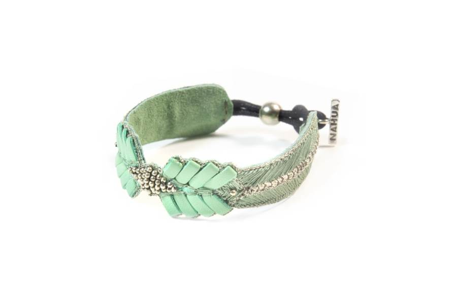 Bracelet cuir Colombe | Turquoise | Photo 2