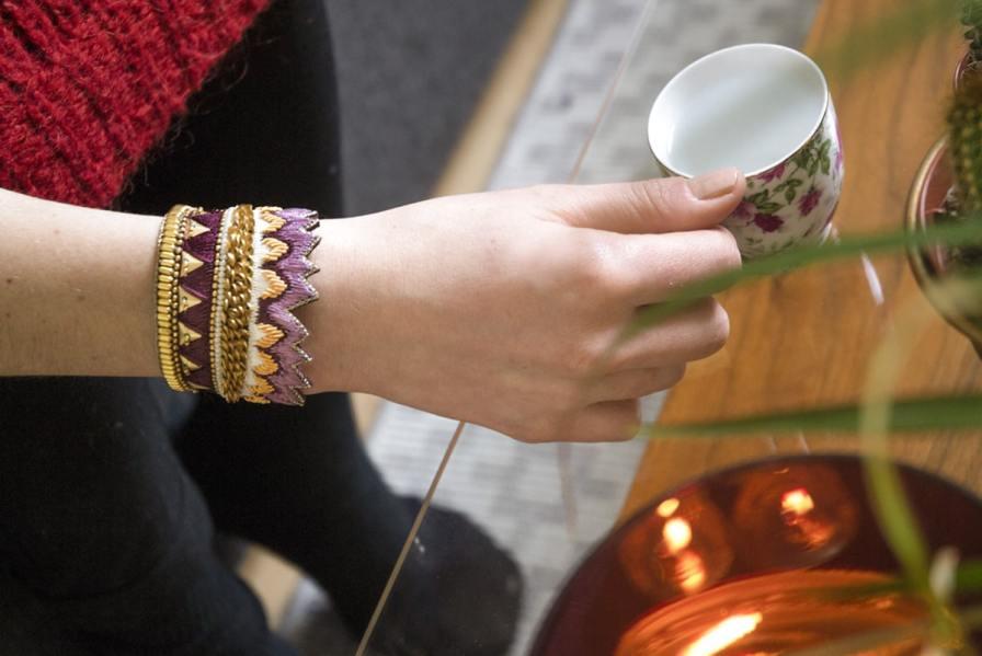 Bracelet ethnique Maheswari   Purple   Photo 1