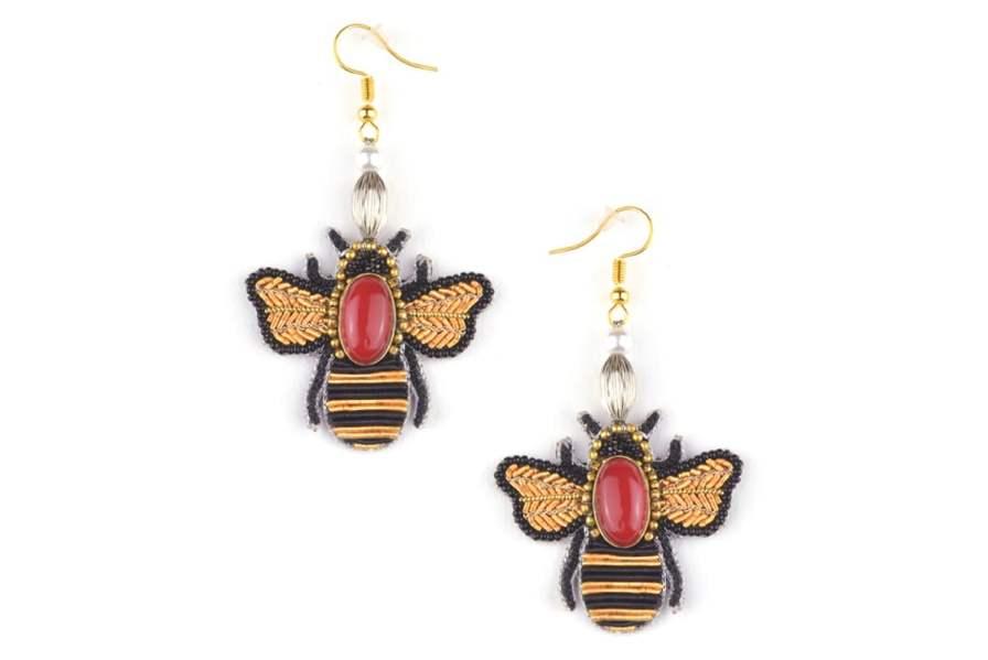 Bee earrings Royan | Red | Photo 2