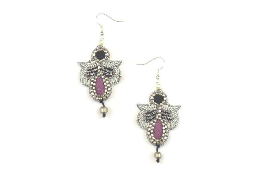 Boucles d'oreilles rock Opale | Purple | Photo 2