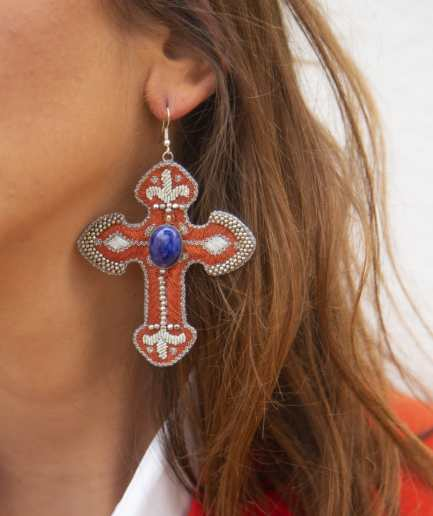Boucles d'oreilles Opiace Blue/Copper NAHUA