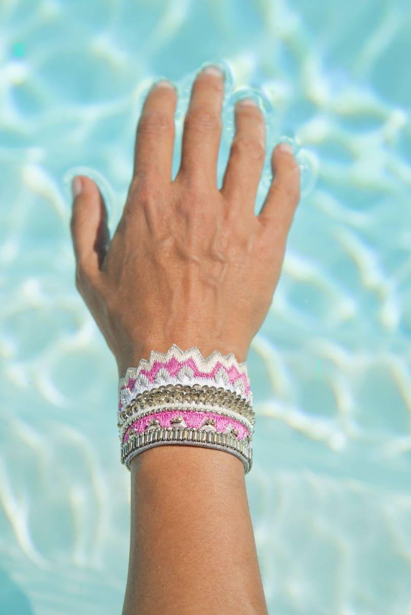 Bracelet ethnique Maheswari   Raspberry   Photo 1
