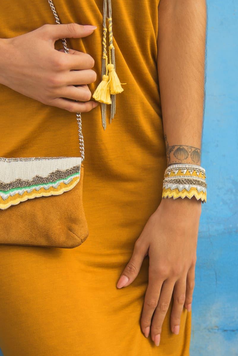 Bracelet ethnique Maheswari | Mustard | Photo 1