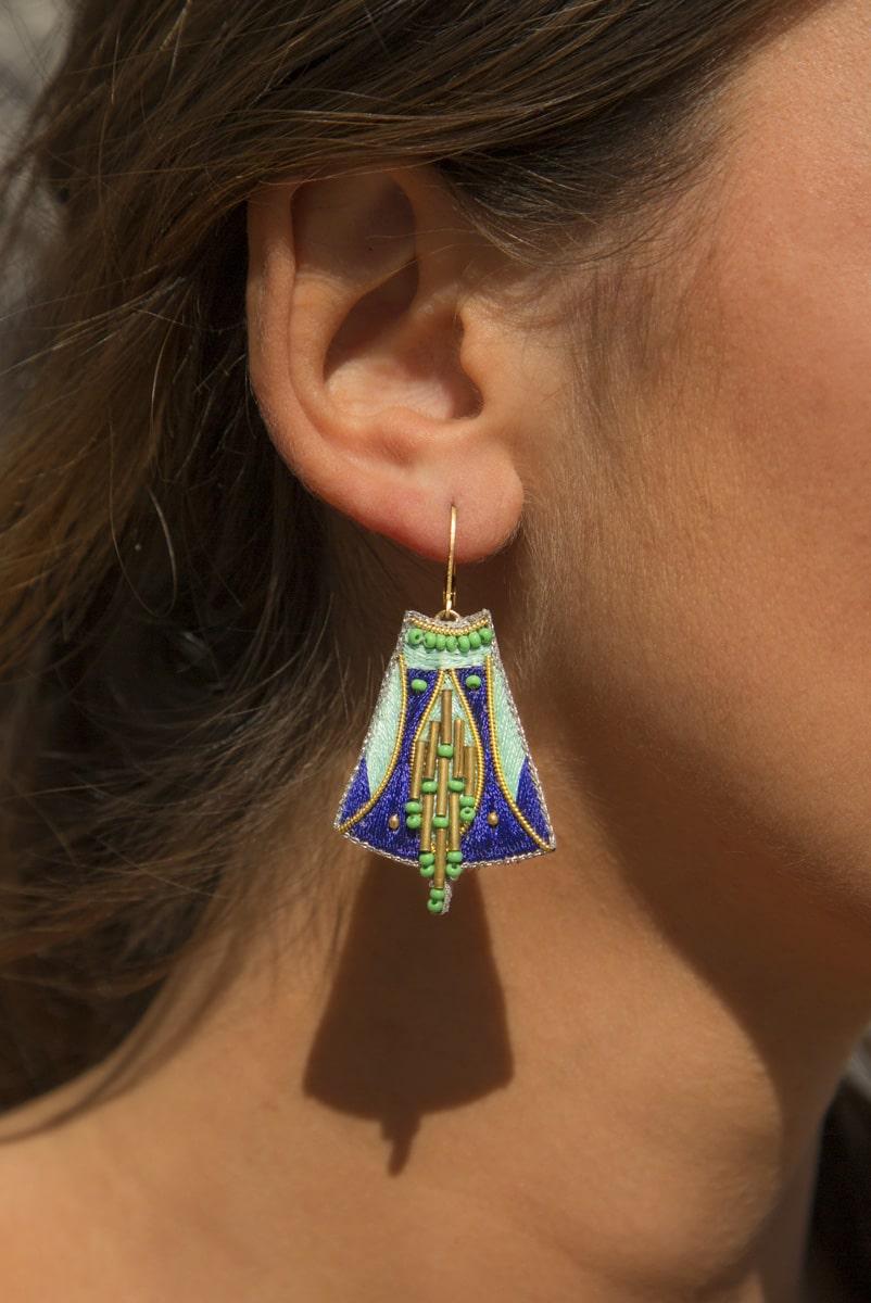 Boucles d'oreilles ethniques Apo | Klein/Mint | Photo 1