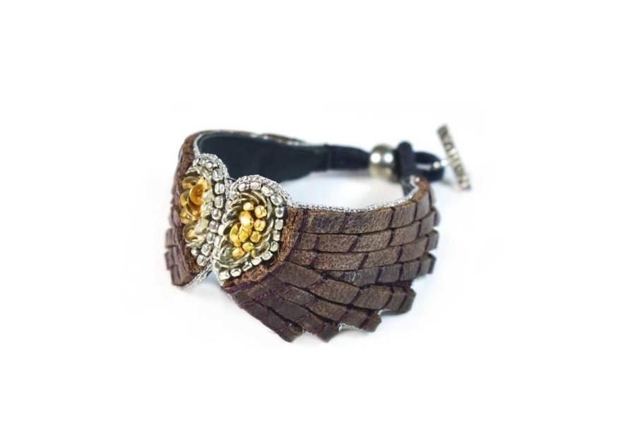 Bracelet cuir Ange | Coffee | Photo 2