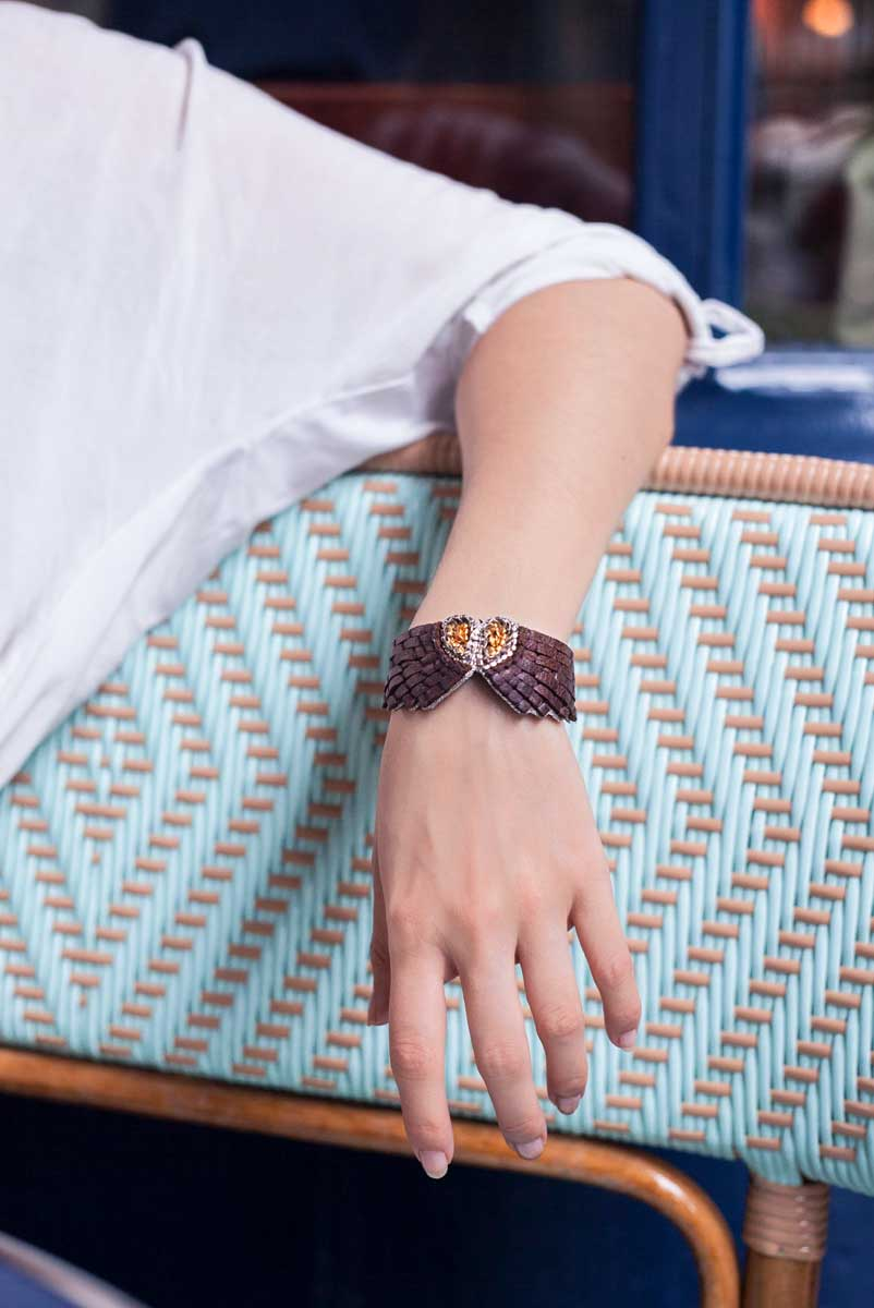 Bracelet cuir Ange | Coffee | Photo 1