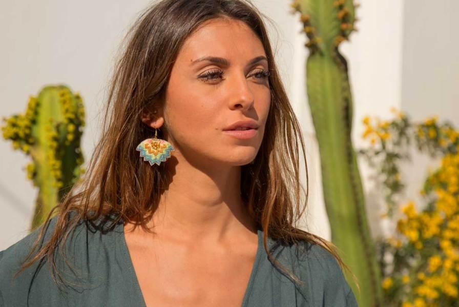 Boucles d'oreilles ethniques Madi | Aqua | Photo 1