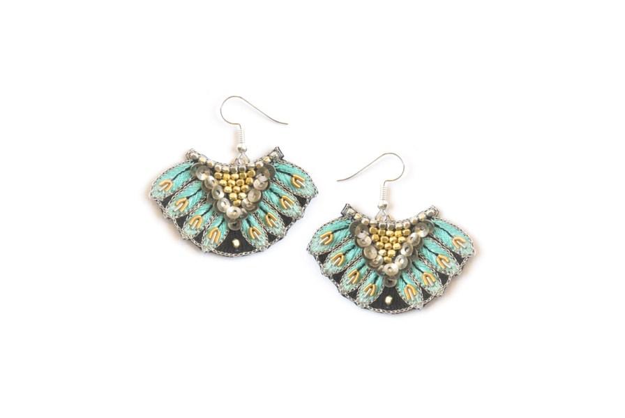 Boucles d'oreilles ethniques Nidhi | Turquoise | Photo 2
