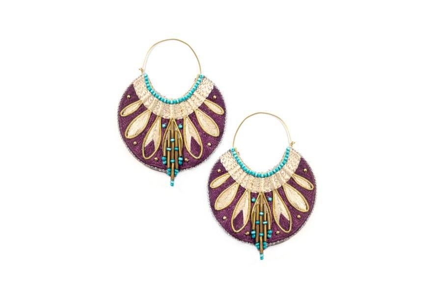 Boucles d'oreilles ethniques Apie | Purple/Mastic | Photo 2