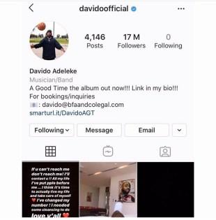 Davido unfollows everyone including Chioma on Instagram